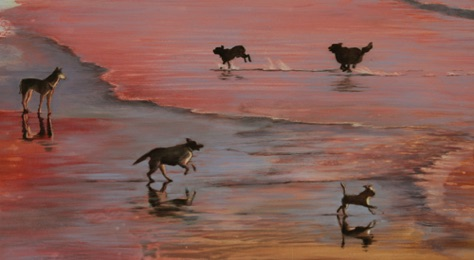 'playing in the surf' 10.75 x 19.25 oil on aluminum