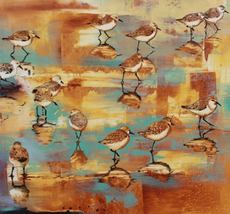 Sunset Plovers 26x28 oil on paper on aluminum