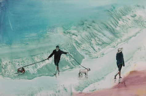 Surf Dogs 12.5x19 oil on paper on aluminum