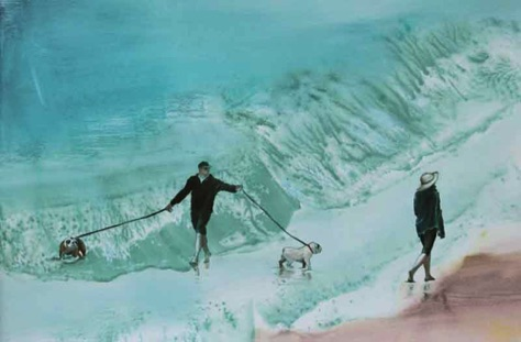 'surf dogs' 12.5 x 19 oil on paper