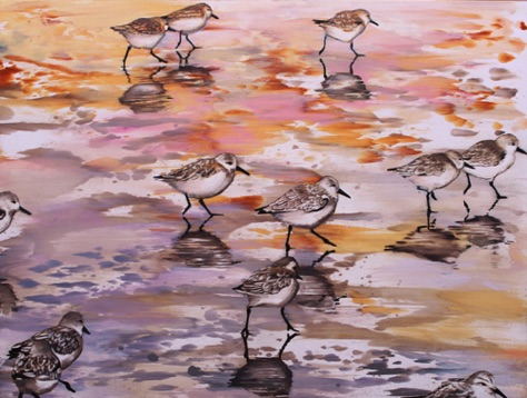 Plovers 18x24 oil on aluminum
