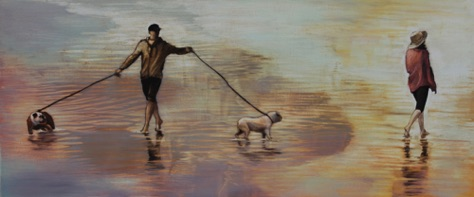 'dogs in the surf' 10 18 x 24 oil on aluminum