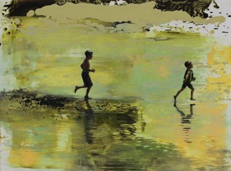 'out to the waves' 17.75 x23 oil on aluminum