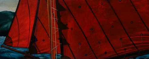 'Dan Spurr's Galway Hooker' 34 x 84 (gifted) oil on aluminum