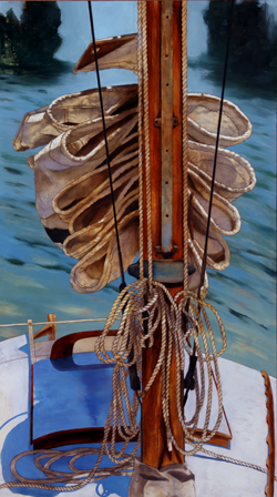 'flaked sail' 43 x 24 oil on paper on aluminum