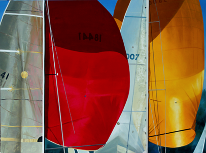 'red and yellow spinnakers' 36 x 48 oil on aluminum