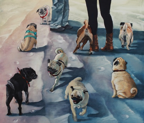 Pug Sunday 26.5 x 30 oil and charcoal on aluminum