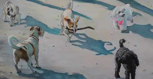 Small Dog Walk one 17.5 x 36 oil and charcoal on aluminum