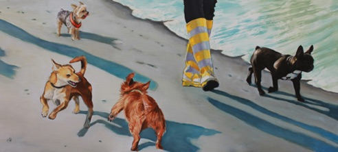 Small Dog Walk two 17.5 x 36 oil and charcoal on aluminum