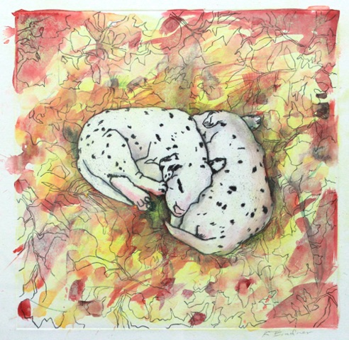 Dalmation Pups 13x13 mixed media on paper